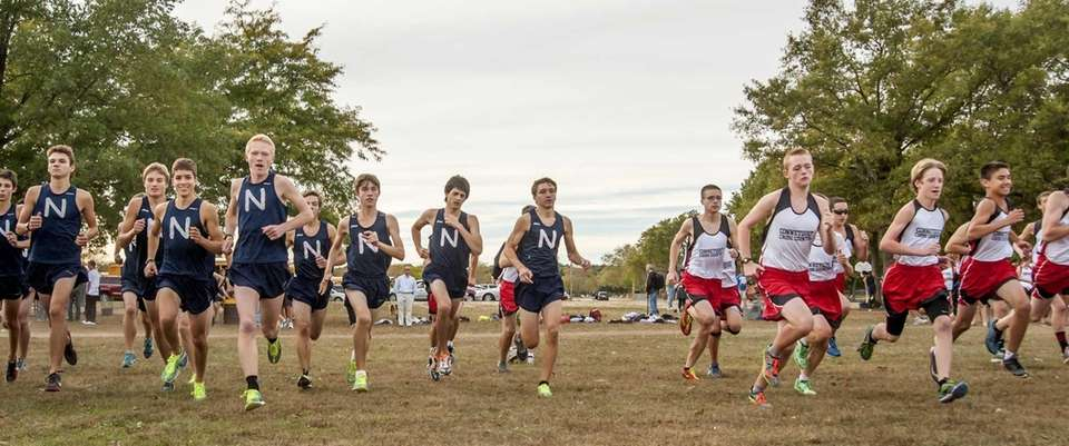 Northport's boys cross country team, left, takes off