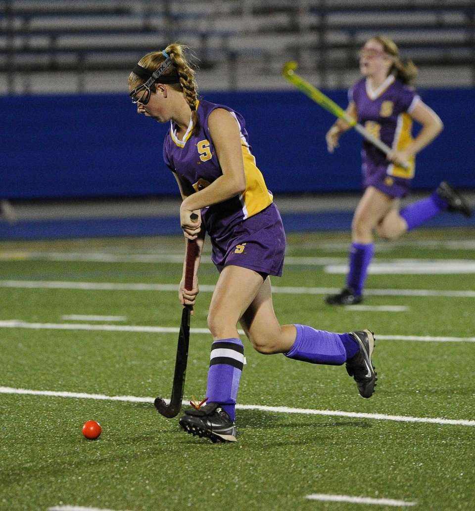 Sayville's Olivia Russell controls the ball against Rocky