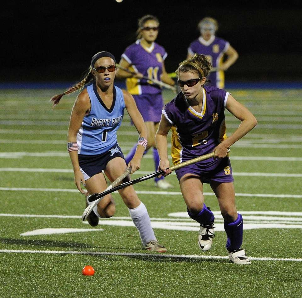 Sayville's Michaela Conlon races for the ball against