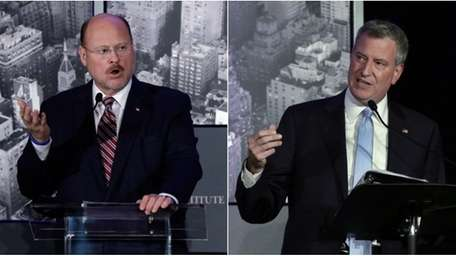 Republican mayoral nominee Joe Lhota, left, and Democratic