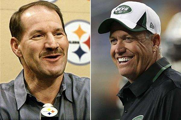 Bill Cowher, left, and Rex Ryan are seen
