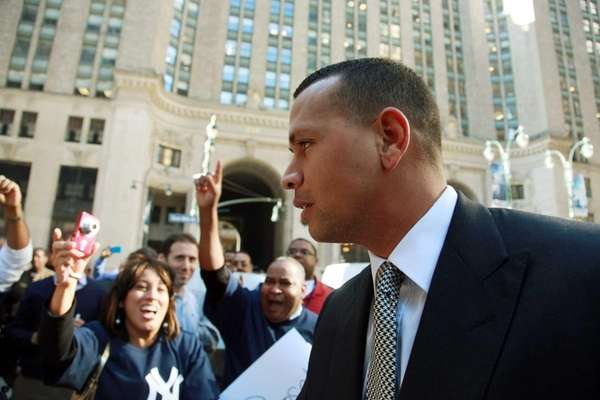 Alex Rodriguez arrives at the offices of Major