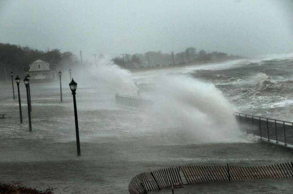 Ransom Beach in Bayville is submerged as waves