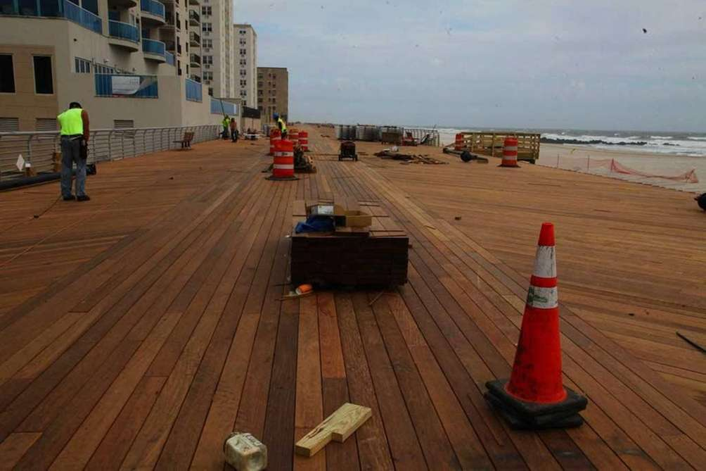Long Beach boardwalk at Lincoln Boulevard after being