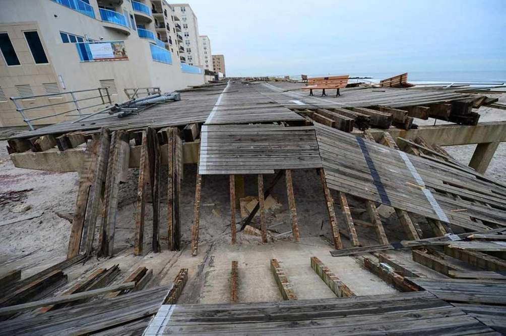 The Long Beach boardwalk remained heavily damaged 2