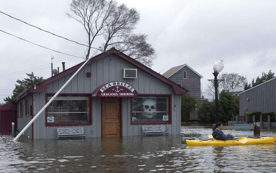 Seabreeze Cafe, in Babylon Village, was flooded after