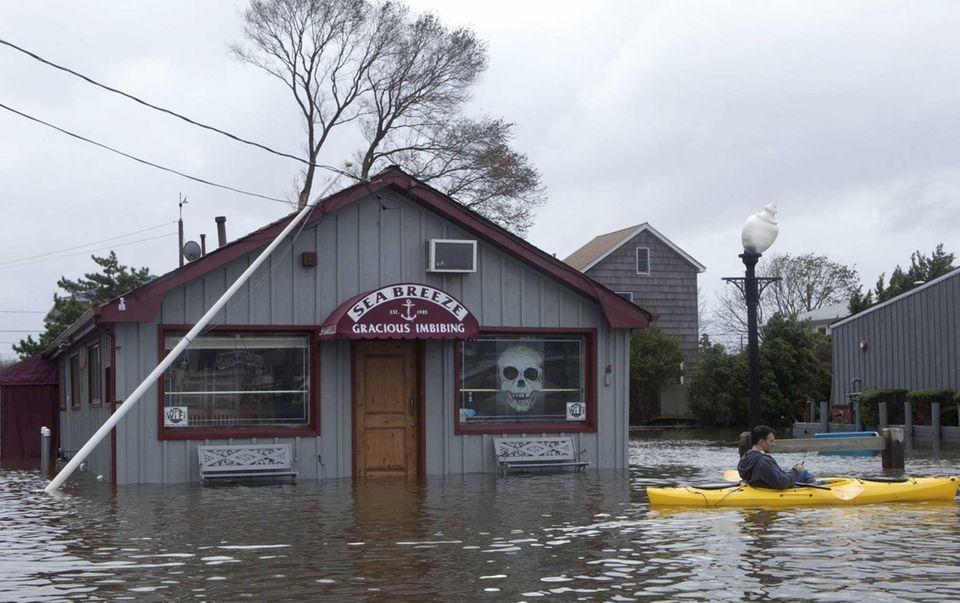 Seabreeze Cafe, in Babylon Village, was flooded after