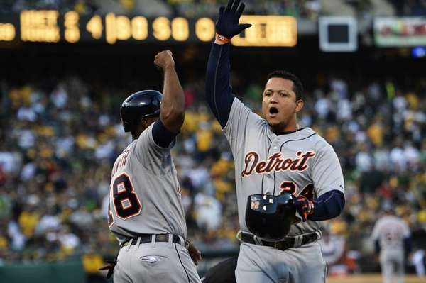 Miguel Cabrera celebrates his two-run home run scoring