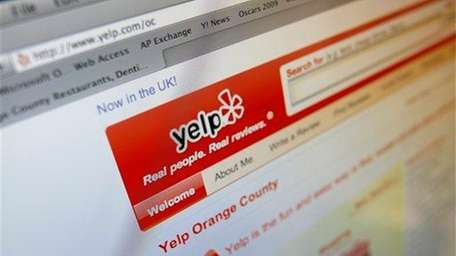 This image shows a Yelp web site on