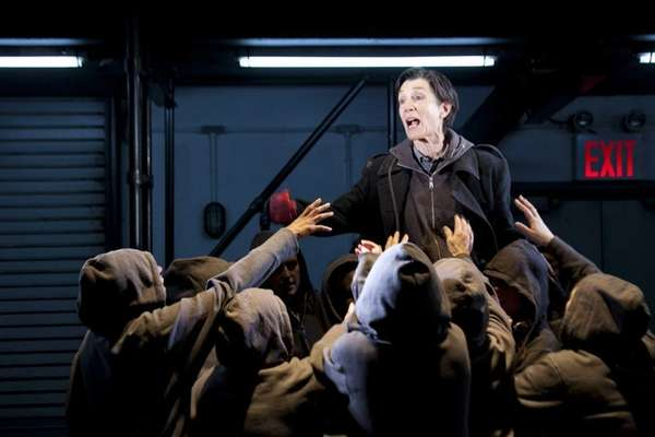 "Harriet Walter and ensemble in ""Julius Caesar."""
