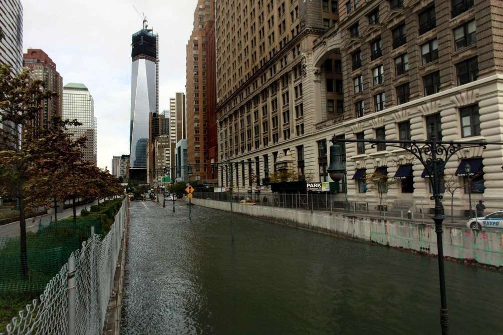 The Brooklyn Battery Tunnel in Manhattan is flooded