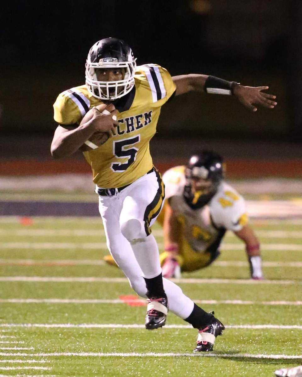 Sachem North running back Malik Pierre runs for