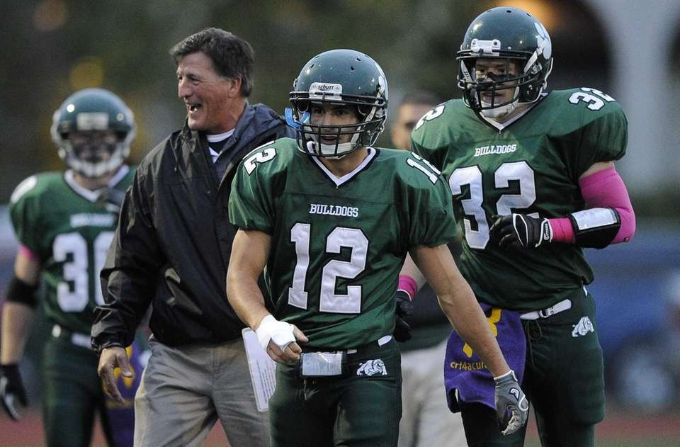 Lindenhurst Bulldogs' Peter Mangione is seen after he