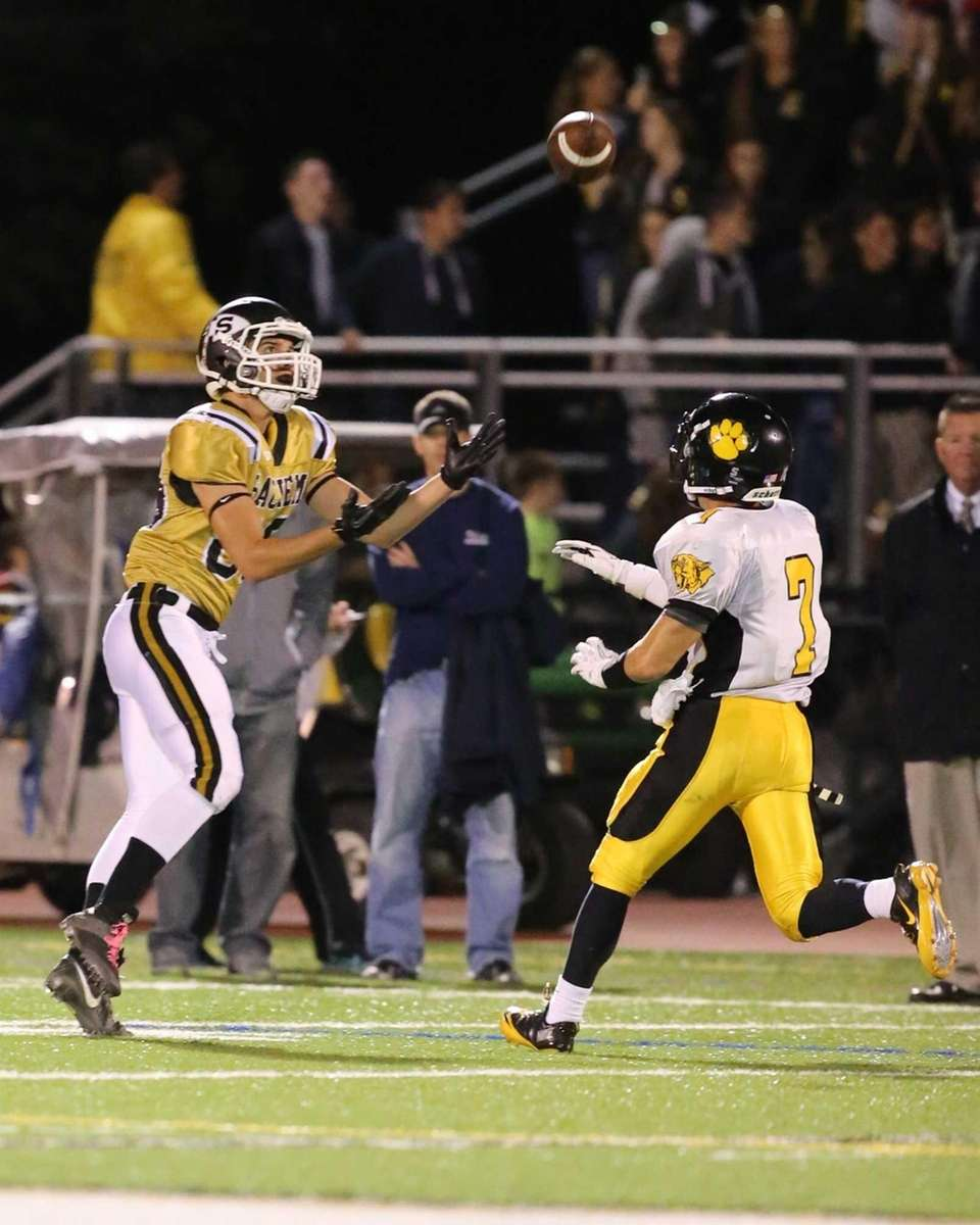 Sachem North wide receiver Matthew Ward catches a