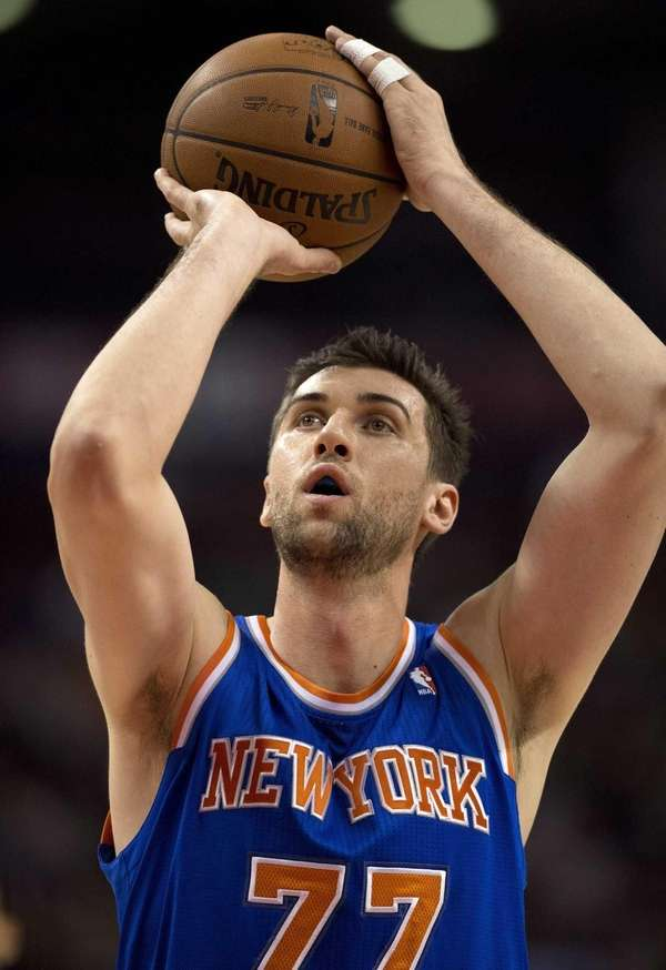 Knicks' Andrea Bargnani shoots a free throw against