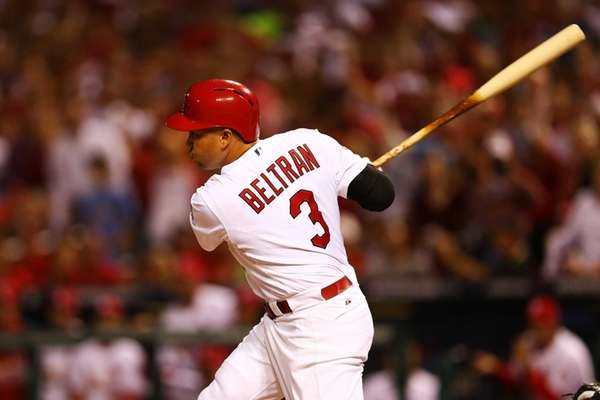 Carlos Beltran of the St. Louis Cardinals hits