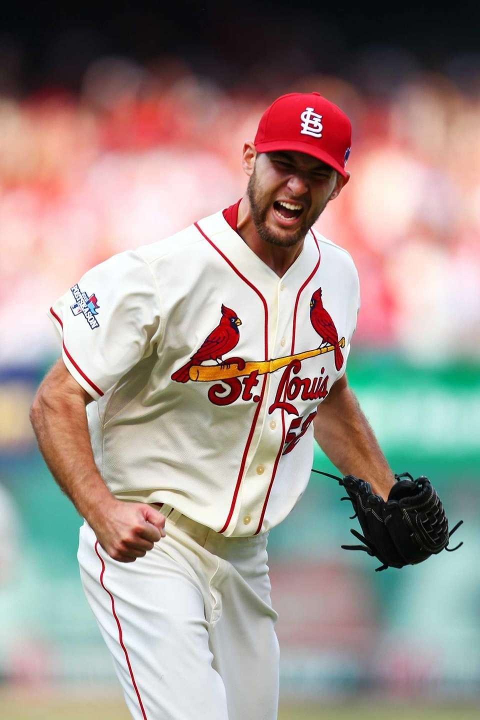St. Louis Cardinals pitcher Michael Wacha celebrates striking