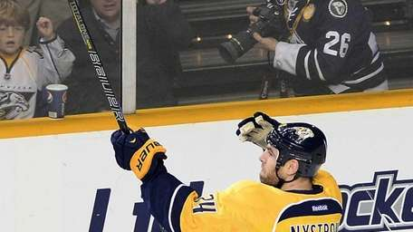 Nashville Predators forward Eric Nystrom celebrates after scoring
