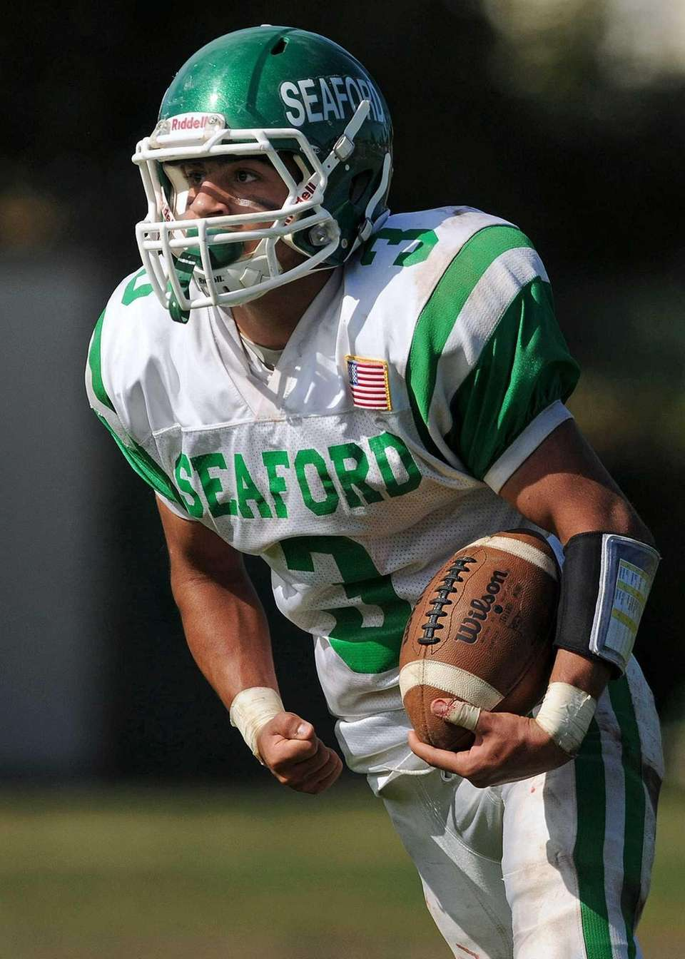 Seaford running back Pat Bizzarro reacts after rushing