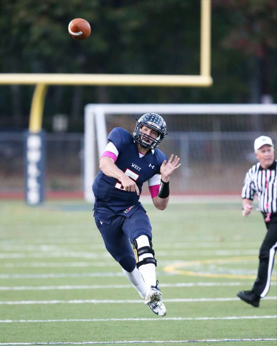 Smithtown West quarterback Matthew K. Heldberg, Jr. throws