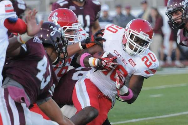 Stony Brook running back Jameel Poteat (no. 20)