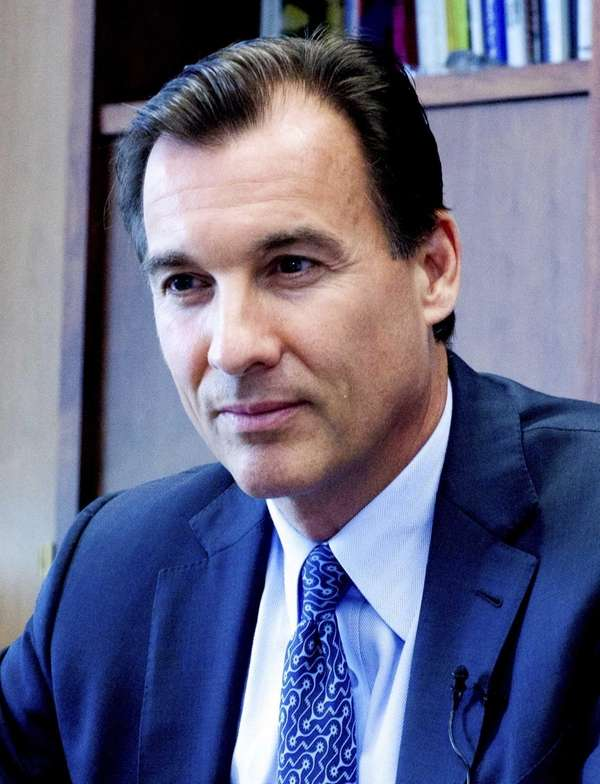 Democratic County Executive candidate Thomas Suozzi sits down