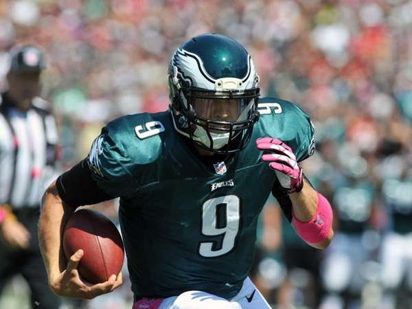 Quarterback Nick Foles of the Philadelphia Eagles runs