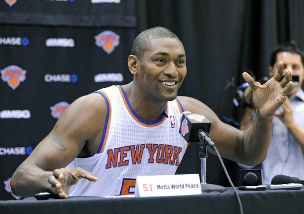 Knicks forward Metta World Peace speaks at a