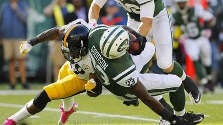 Jets running back Mike Goodson (no. 23) is
