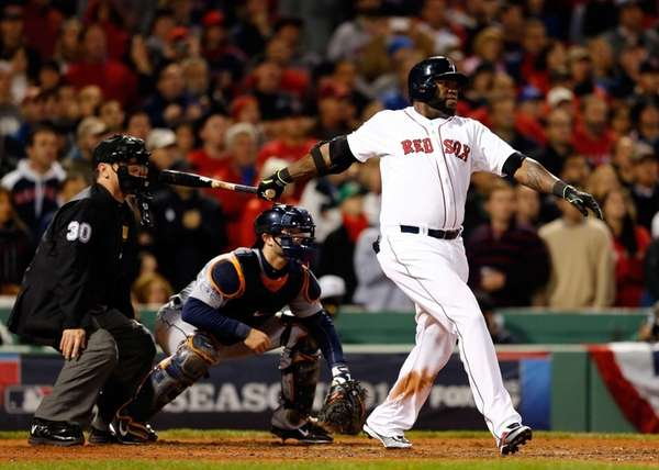 Boston Red Sox hitter David Ortiz hits a
