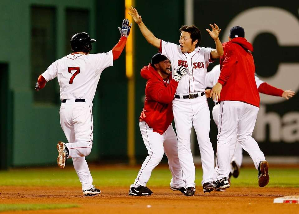 Koji Uehara of the Boston Red Sox celebrates