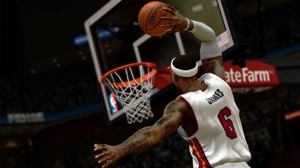 LeBron James in a scene from NBA 2K14: