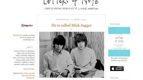 Letters of Note, is a blog-based archive of