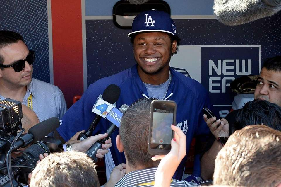 Los Angeles Dodgers shortstop Hanley Ramirez answers questions