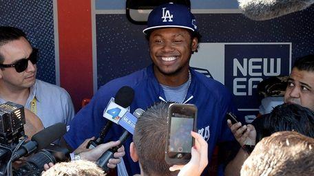 Los Angeles Dodgers shortstop Hanley Ramirez answers questions