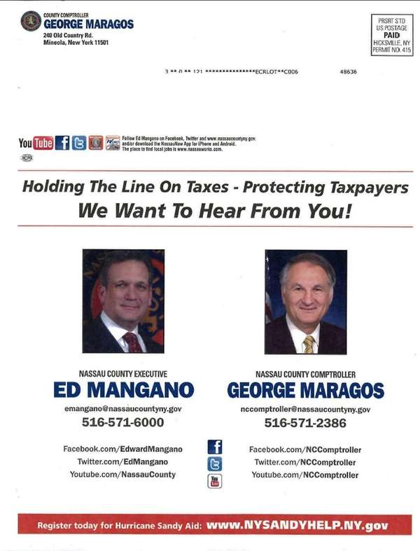 Mangano and Republican running mate County Comptroller George