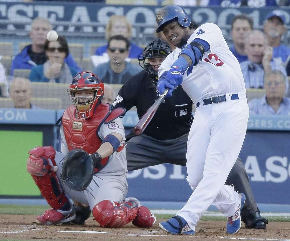 Los Angeles Dodgers shortstop Hanley Ramirez hits a