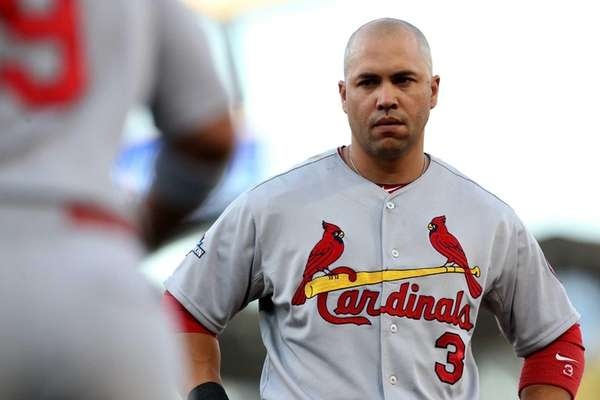 Carlos Beltran of the St. Louis Cardinals looks