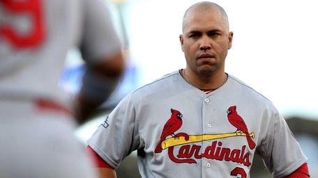Carlos Beltran of the St. Louis Cardinals looks