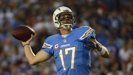 San Diego Chargers quarterback Philip Rivers throws the