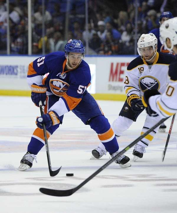 Islanders' Frans Nielsen controls the puck against the