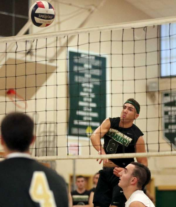 Lindenhurst's Ryan McDonough watches his shot go over