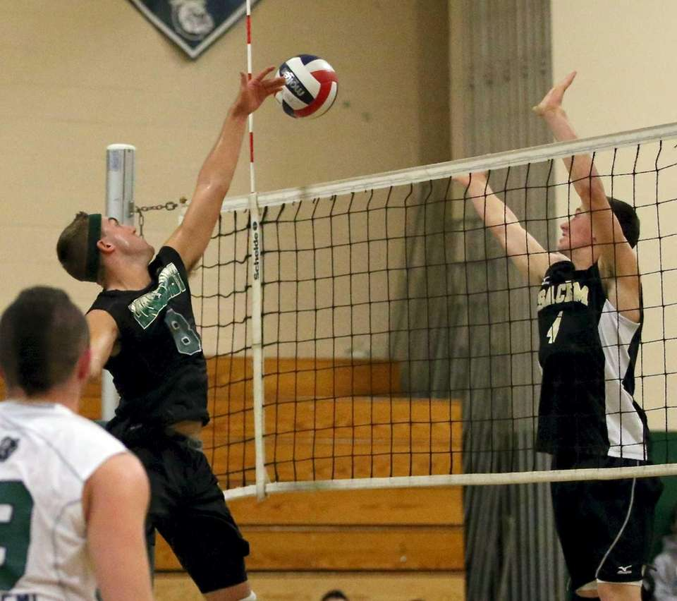 Lindenhurst's Ryan McDonough puts the shot past Sachem