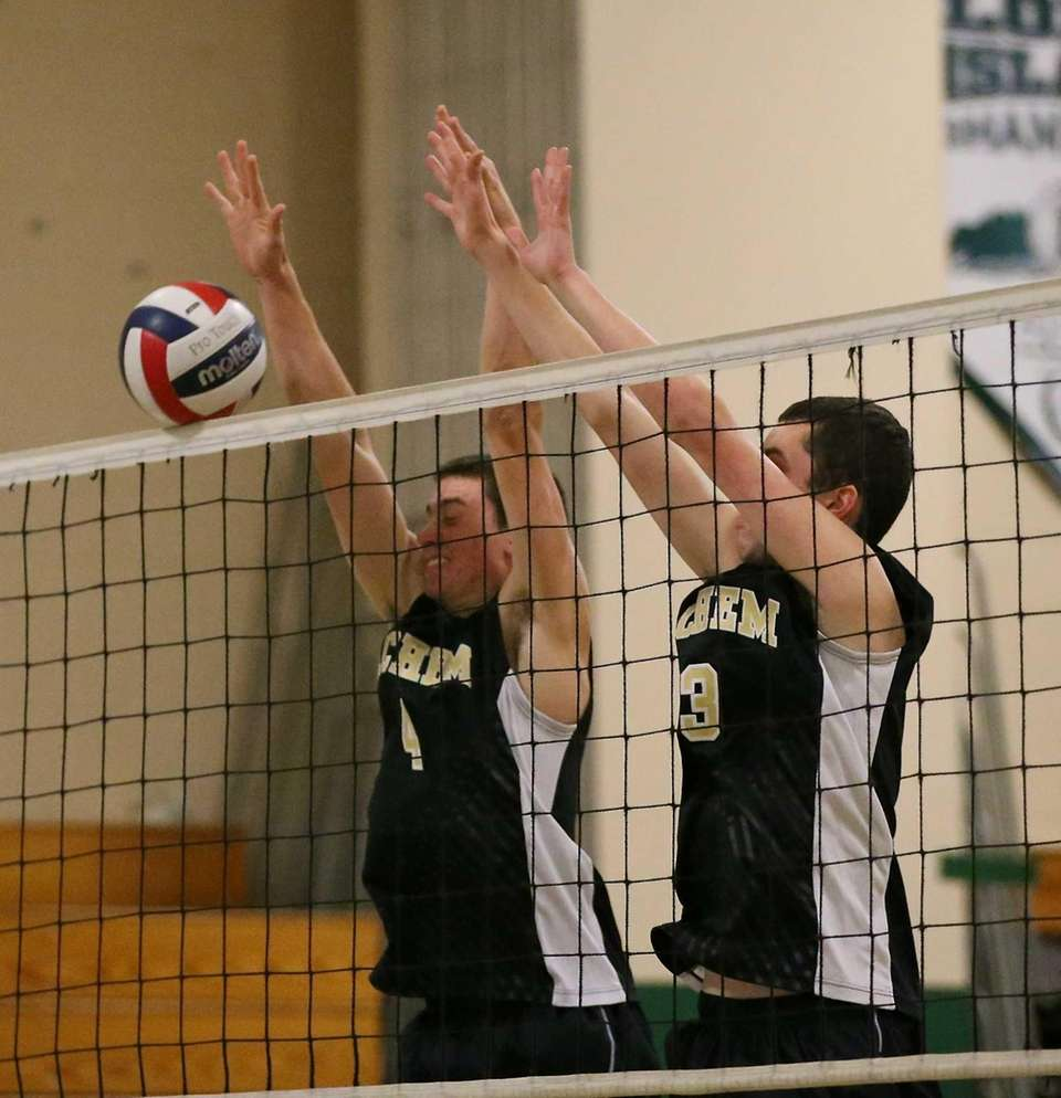 Sachem North's Adam Bloomfield, right, and Michael Kochen