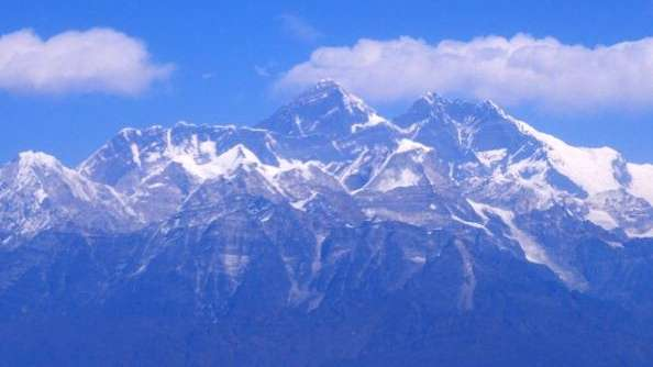An aerial view of the Mount Everest range,