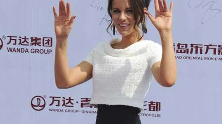 Kate Beckinsale attends the launching ceremony of Qingdao