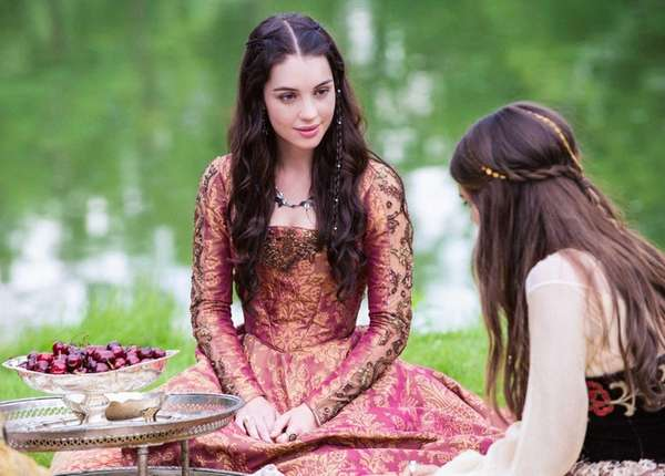 Adelaide Kane as Mary, Queen of Scots, left,
