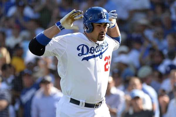 Adrian Gonzalez of the Los Angeles Dodgers reacts