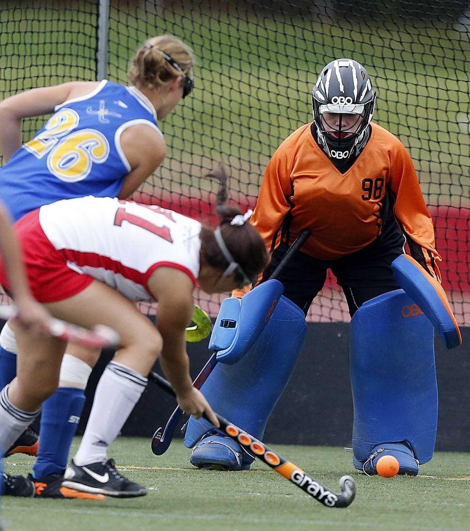 West Islip goalie Olivia Kelly follows a shot