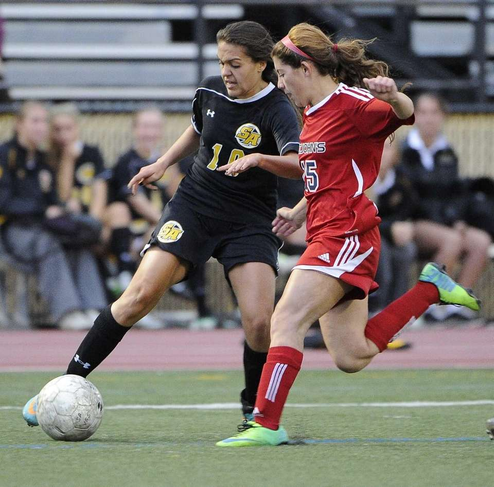 St. Anthony's Michelle Santangelo controls the ball ahead